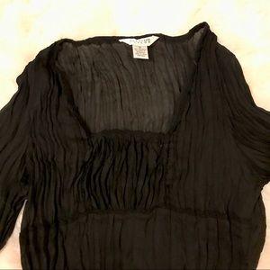 NWT Black sheer peasant blouse